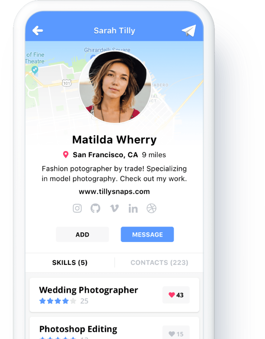 native app profile view